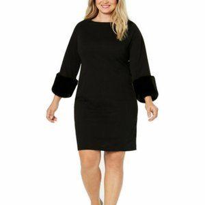 NWT Alfani Petite Faux-Fur-Cuff Shift Dress - 16P